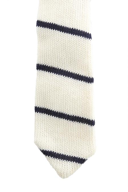 Alexander Olch Knit Tie - White/Navy Stripe