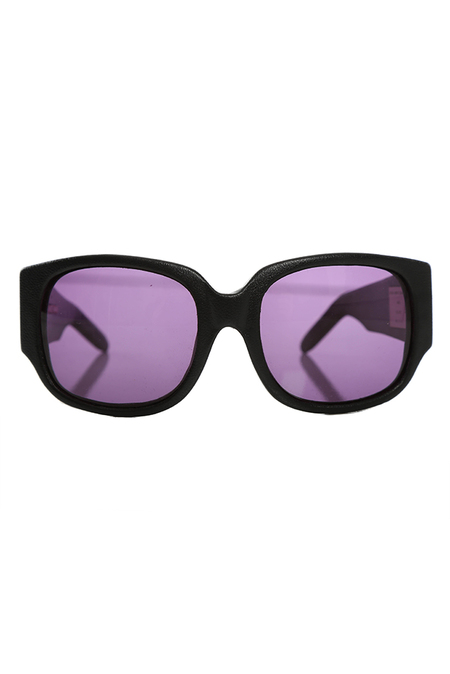 Linda Farrow x Alexander Wang Alexander Wang AW/8/1 Black Leather Rectangle Sunglasses - Black