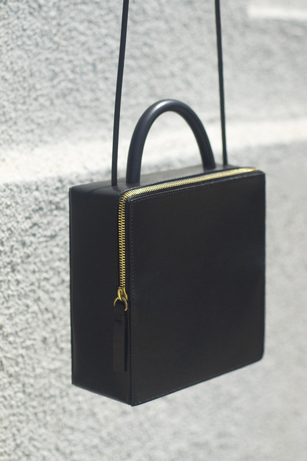 Building Block Leather Box Bag - Black