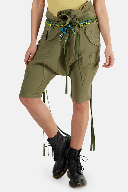 R13 Rolled Waist Cargo Shorts - Olive