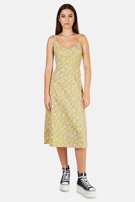 R13 Corset Midi Dress - Yellow Floral