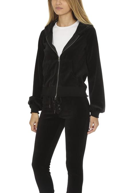 Pam & Gela Velour Zip Hoody Sweater - Black