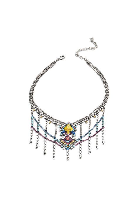 Dannijo Cubana Necklace - Multi/Ox Silver/Blue