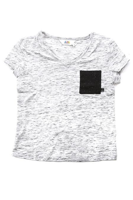 Kids Little Eleven Paris V Neck Placket T-Shirt - Light Grey