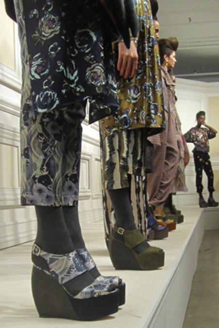 Loeffler Randall x SUNO Estrella Satin Platform Wedge Shoes - Teal