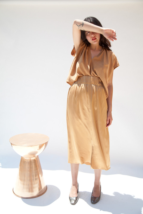 Miranda Bennett In-Stock: Paper Bag Skirt, Silk Charmeuse in Sand
