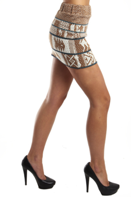 SUNO Animal Jacquard Skirt - Tribal Print
