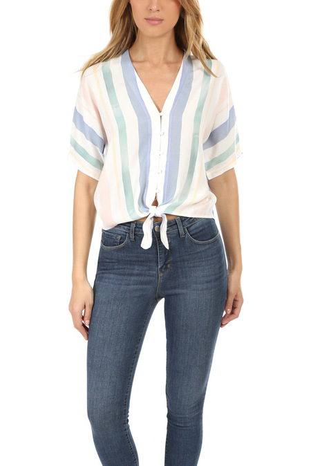 Rails Thea Top - Pastel Watercolor Stripe