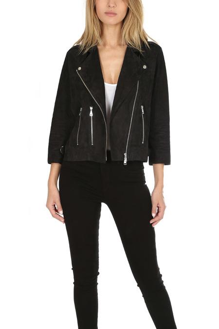 Giorgio Brato Suede Zip Moto Jacket - Black