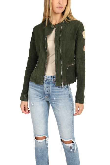 Giorgio Brato Suede Moto Jacket With Patches - Agave