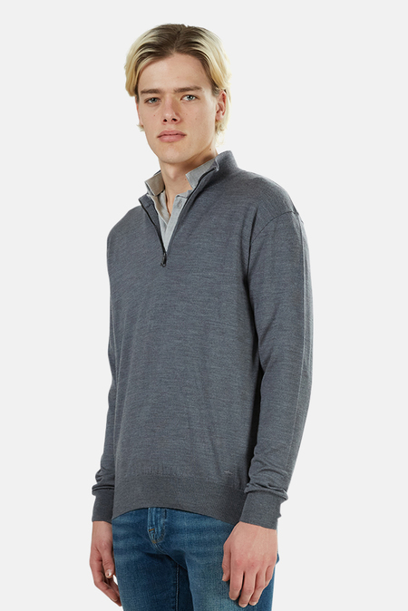 Paul & Shark Mock Neck Half Zip Sweater - Grey
