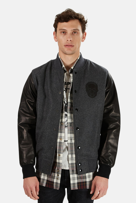 Lucien Pellat-Finet Cashmere Leather Jacket - Heather Grey/Black