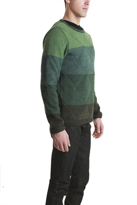 Remi Relief Wool Boarder Layer Crew Sweater - Green