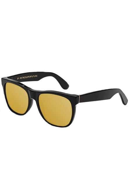 RetroSuperFuture Basic Black 24k Sunglasses - Black/Gold