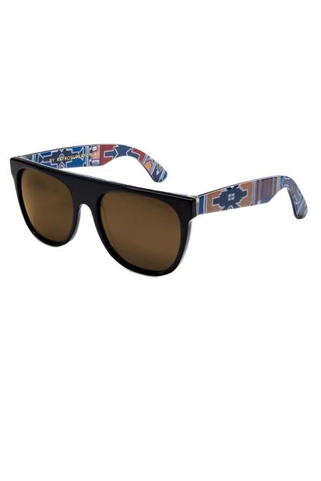 RetroSuperFuture Flat Top Ndebele Sunglasses - Brown