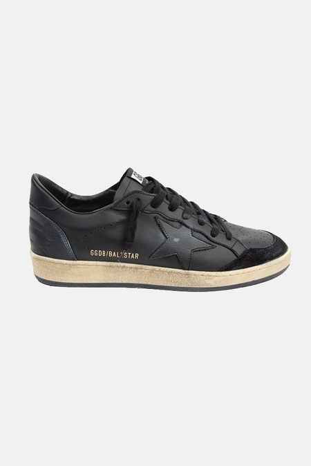 Golden Goose Ball Star Sneaker Shoes - Black Leather/Black Suede