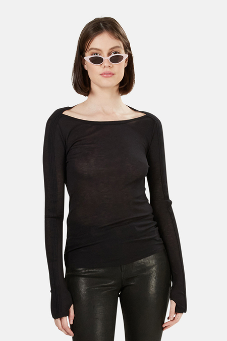 T by Alexander Wang Boat Neck LS top - Black
