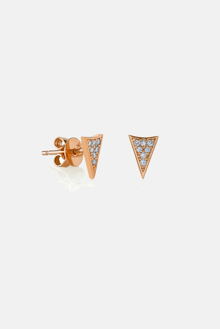 Sydney Evan Pavé Diamond Triangle Stud Earrings - 14k rose-gold