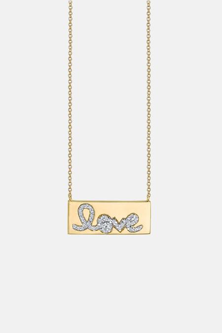 Sydney Evan Diamond Love Bar Necklace - 14k Yellow gold