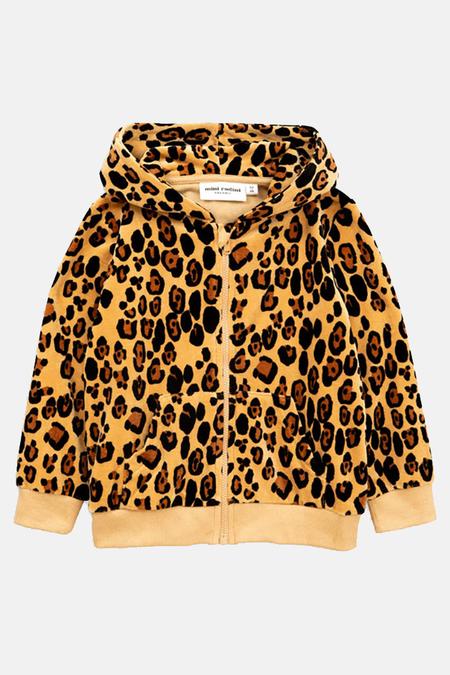 Kids Mini Rodini Velour Hoodie Sweater - Leopard