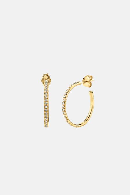 Sydney Evan Medium Diamond Hoops Earrings - 14k yellow gold