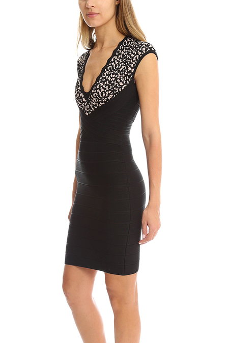 Herve Leger Cindy Lace Jaquard Dress - Black