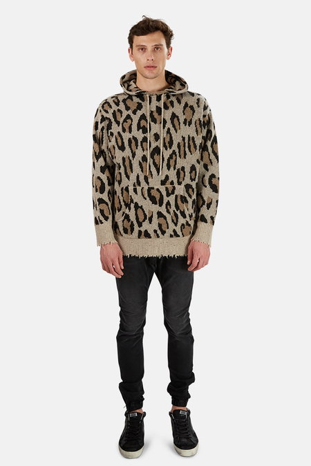R13 Cashmere Hoodie Sweater - Leopard