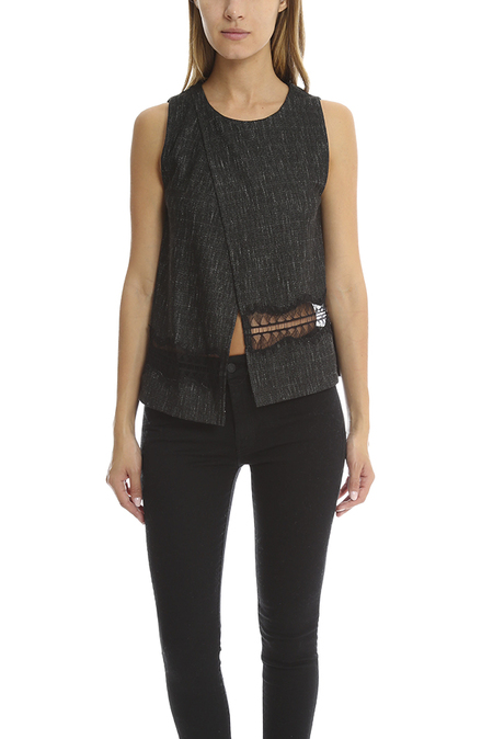 Thakoon Addition Crossover Woven Tank Top - Charcoal