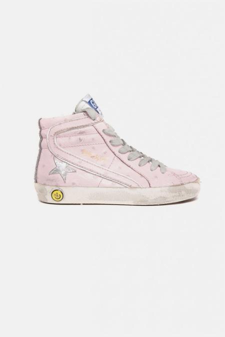 kids Golden Goose Slide Sneaker Shoes - Pink Ostritch/Silver Star