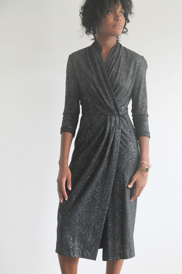The Shudio Vintage Metallic Gunmetal Wrap Dress