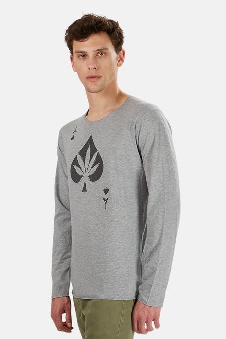 Lucien Pellat-Finet Ace Leaf Long Sleeve T-Shirt - Grey