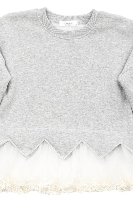 Kids Hailey Lace Sweater - Grey