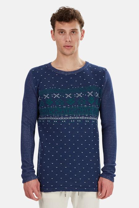 Via Spare Print Sweater - Navy/Green