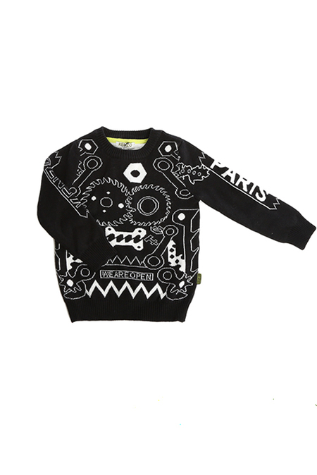 Kids unisex KENZO Knit Sweater - Black