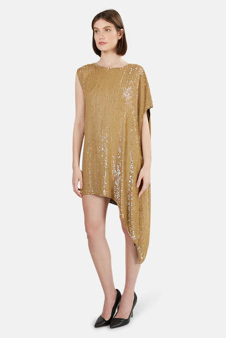 3.1 Phillip Lim Sequin Asymmetrical Draped Dress - Tan