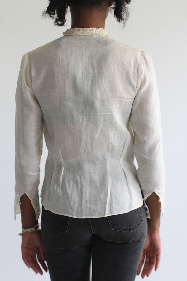 SomeLikeUs Vintage Linen Victorian-inspired Blouse