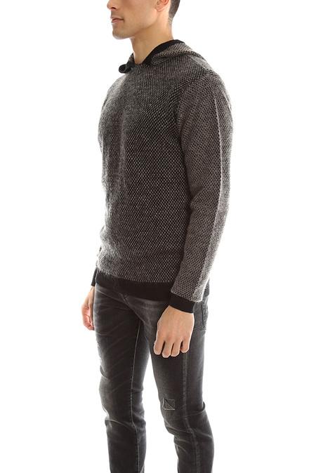 Robert Geller Gustav Knit Hoodie Sweater - Black/Grey