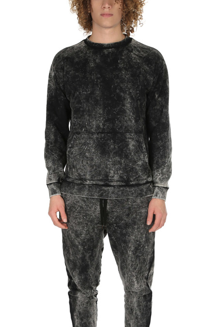 Robert Geller Acid Wash Crewneck Sweater - Acid Wash Black