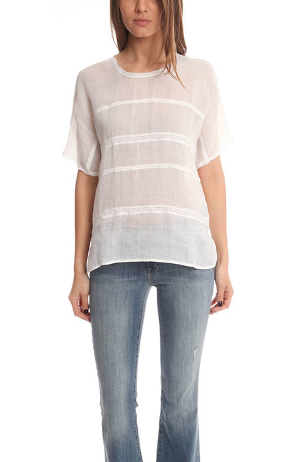 Vince Lace Insert Top - Optic White