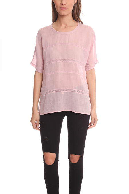 Vince Lace Insert Top - Peony