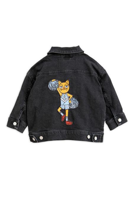 Kids Mini Rodini Cheer Cat Denim Jacket - Black