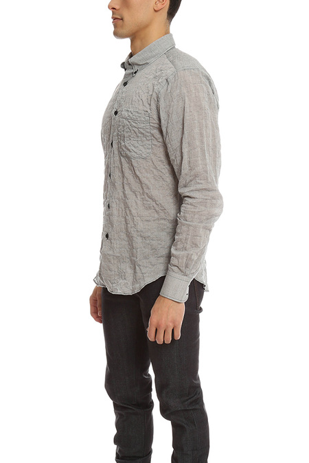 Naked & Famous Crinkle Horizontal Stripes Slim Shirt - Black