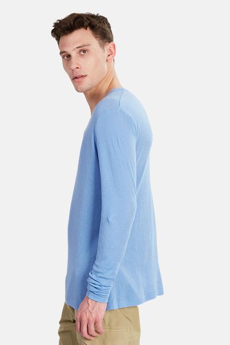 V::Room Long Sleeve Vneck Gauze T-Shirt - Slate/Lavender