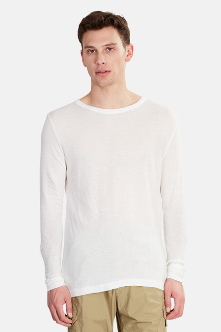 V::ROOM Long Sleeve Double Gauze Crewneck Top - White
