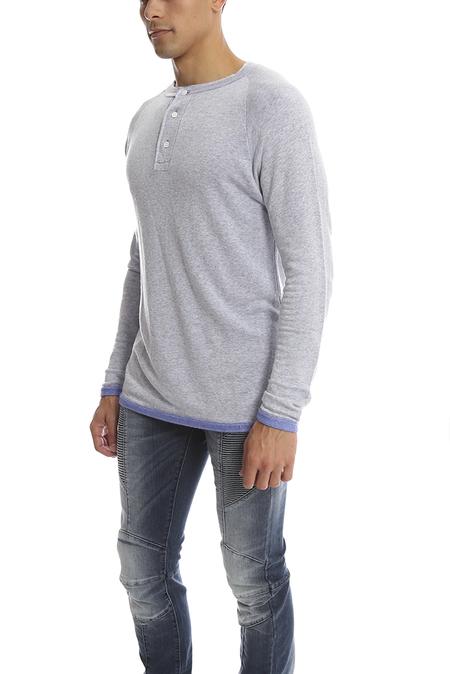 V::Room Long Sleeve Gauze Fleece Henley Top - Purple