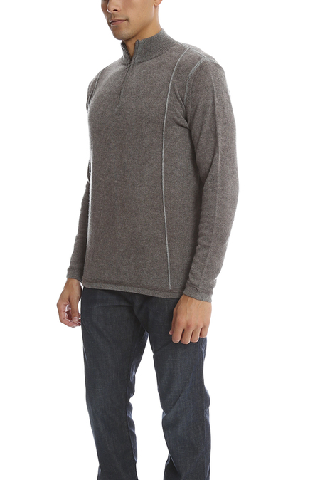 Blue&Cream Inked 1/4 Zip Pullover Sweater - Mulch Brown