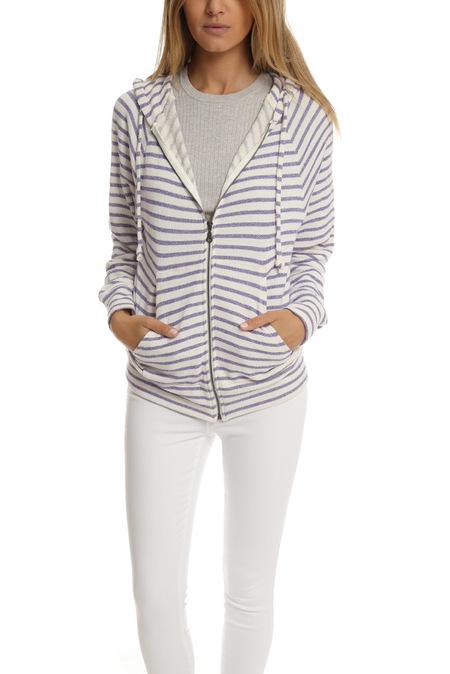 V::Room Gauze Fleece Zip Hoody Sweater - White/Purple