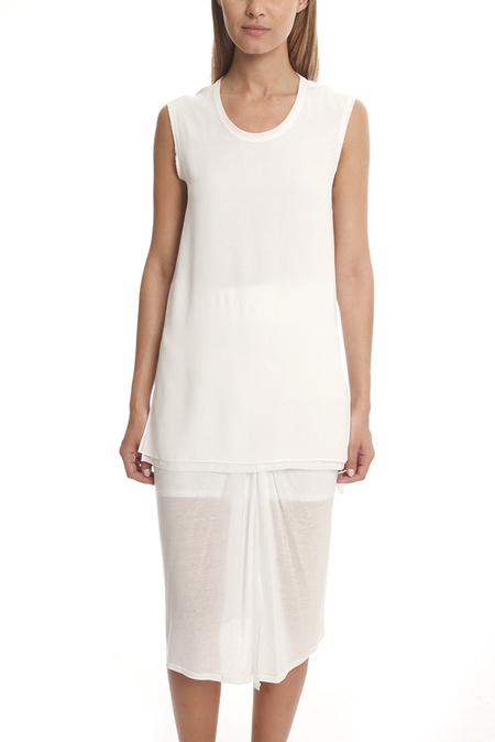 Helmut Lang Round Neck Silk Top - Optic White