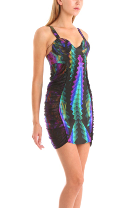Belle Sauvage Quilted Bra Dress - Neon Multi Print