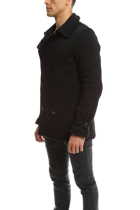 Biography Double Breasted Pea Coat - Black